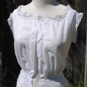 Tops - Antique French Victorian/Edwardian white lacy top
